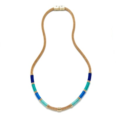 Blue Long Mesh Colorblock Necklace