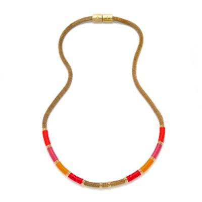 Red Long Mesh Colorblock Necklace