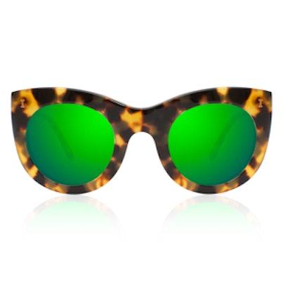 Boca Tortoise With Green Mirrored Lenses