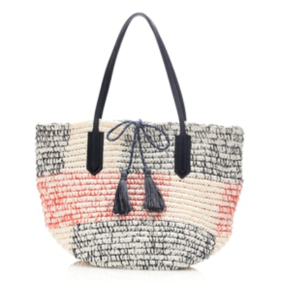 Color Blocked Straw Tote