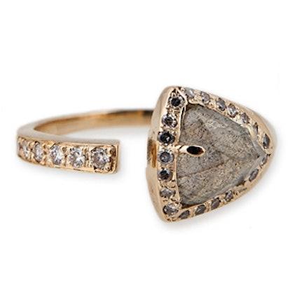 Mini Pyramid Triangle Labradorite Wrap Ring