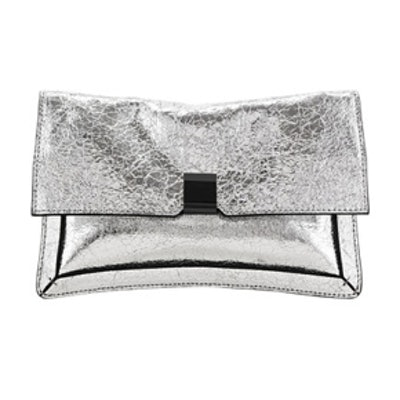 Vintage Mirror Leather Silver Fold Over Clutch