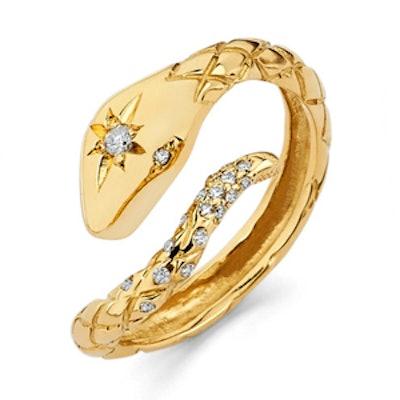 Star Set Diamond Snake Ring