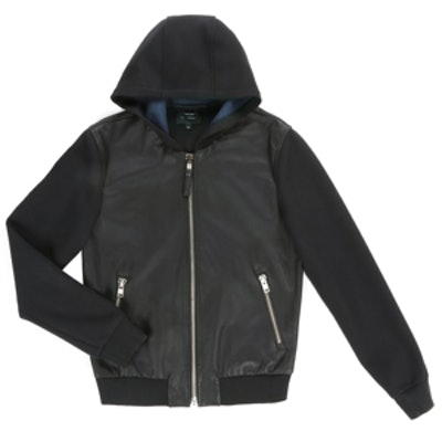 Elvin-S5 Black Doubleface Jersey Jacket With Hood