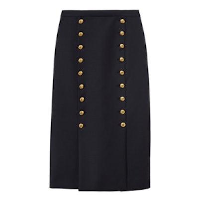 Knot Button Midi Skirt
