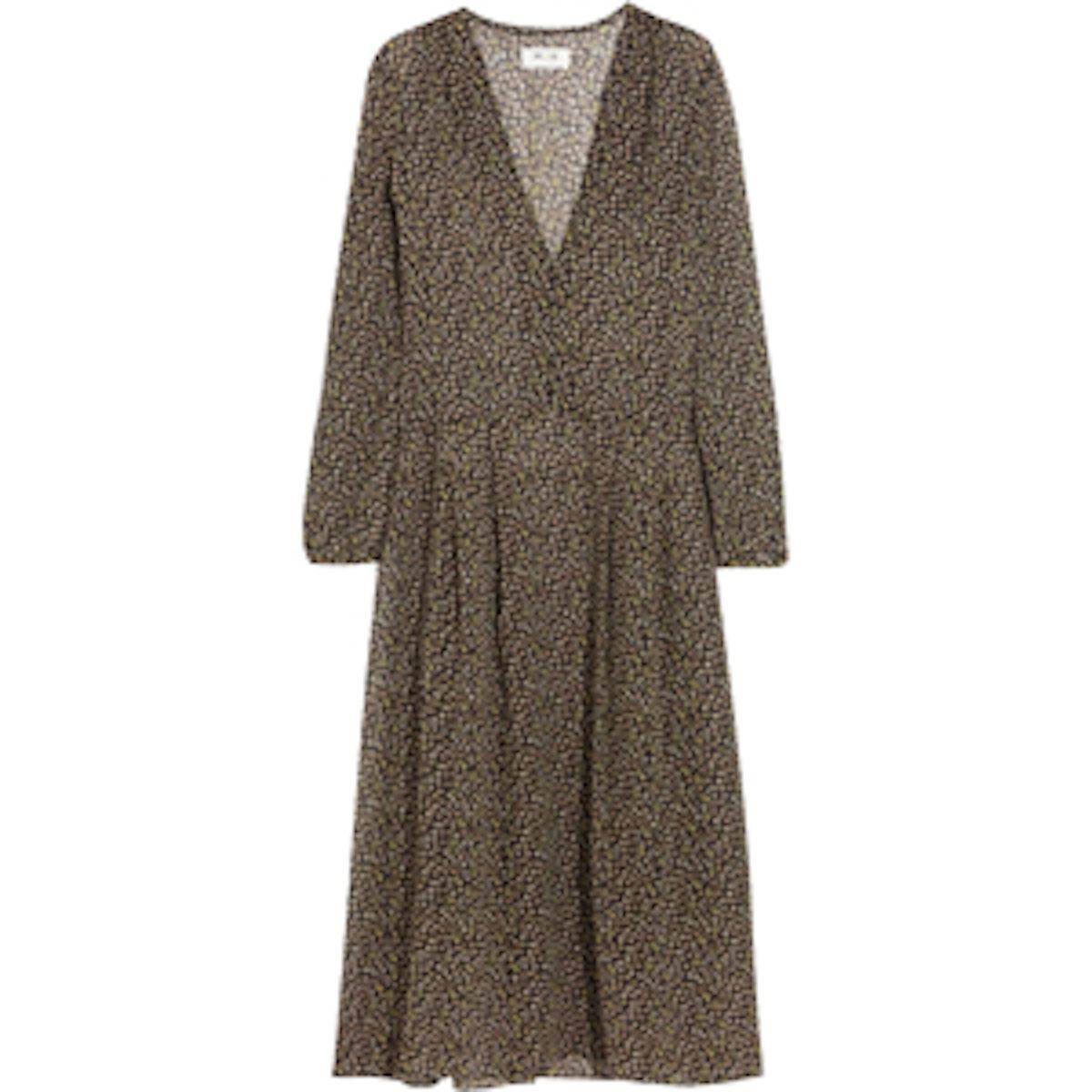 Cornflower Printed-Silk Dress