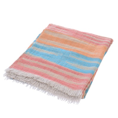 Striped Linen Throw Blanket