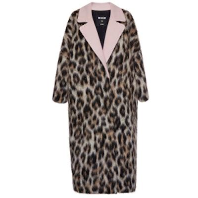 Leopard Print Wool Felt Overcoat