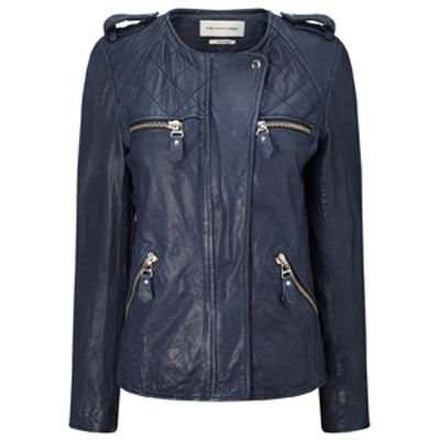 Navy Lamb Leather Kady Jacket