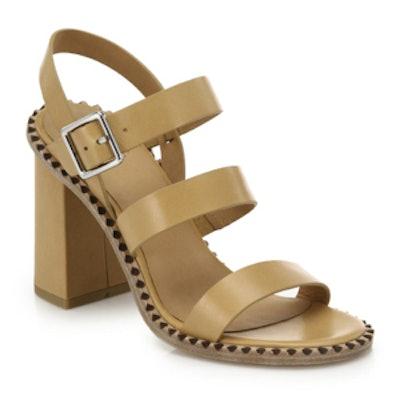 Triple-Strap Leather Sandals