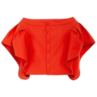Cotton Top With Ruffle Sleeves