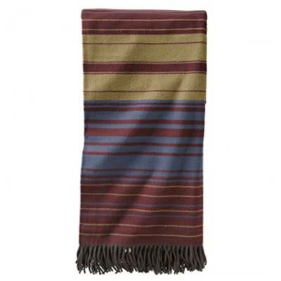 5th Avenue Maroon Stripe Wool Throw