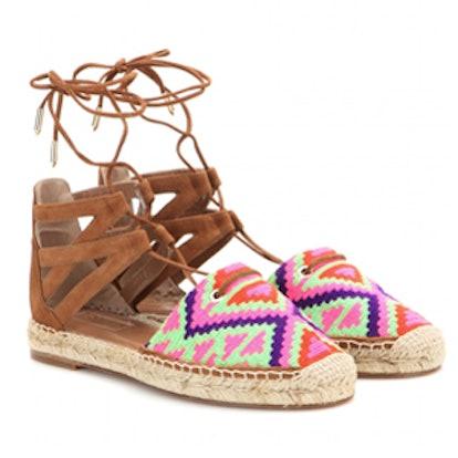 Belgravia Embroidered Suede Espadrille Sandals