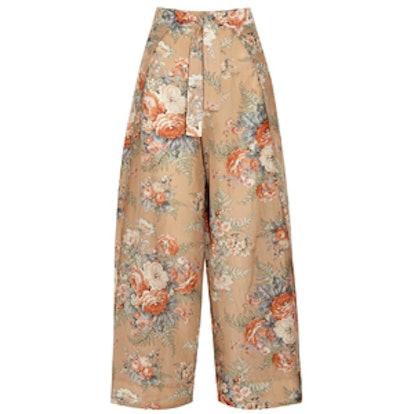 Anais Printed Cotton Wide-Leg Pants