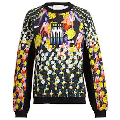 Abstract Cheerleader Print Sweatshirt