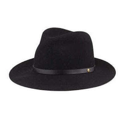 Floppy Brim Wool Fedora Hat, Black