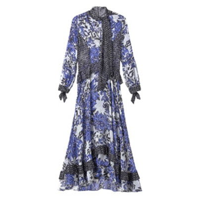 Flame of the Forest Print Tie Neck Dress