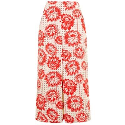 Floral Spot Print Midi Skirt