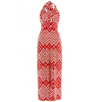 Red Ripple Print Jumpsuit
