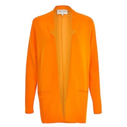 Orange Jersey Inverse Collar Blazer Jacket
