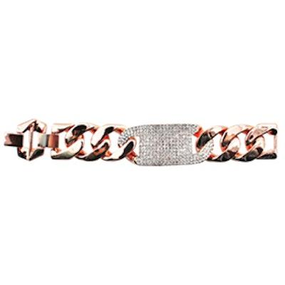 Crystal Tag Chain Link Bracelet
