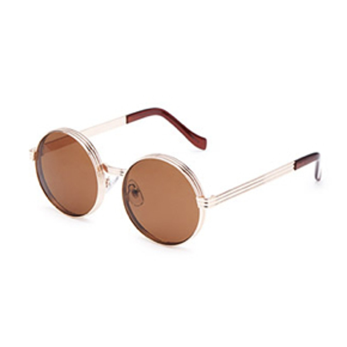 Stacked Metal- Frame Round Sunglasses