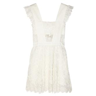 Ruffled Guipure Lace Mini Dress