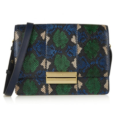 Kristen Python-Print Leather Shoulder Bag