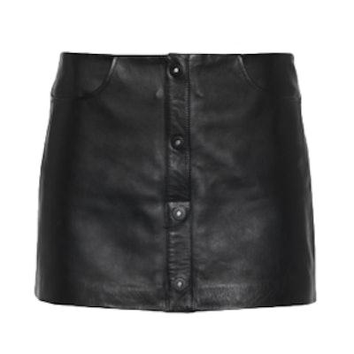 Buttoned Sleek Black Leather Mini Skirt