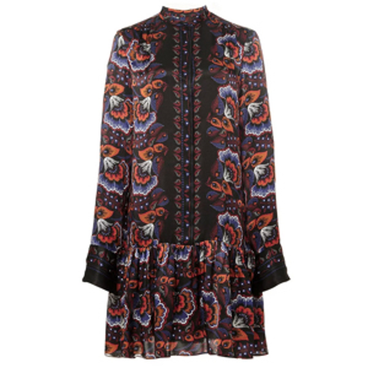 Silk Gathered Peplum Shirtdress