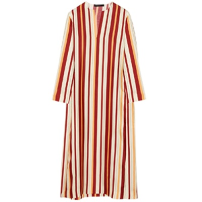 Bruna Striped Woven Silk Midi Dress