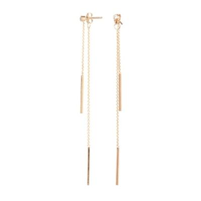Uneven 14K Bar Earrings