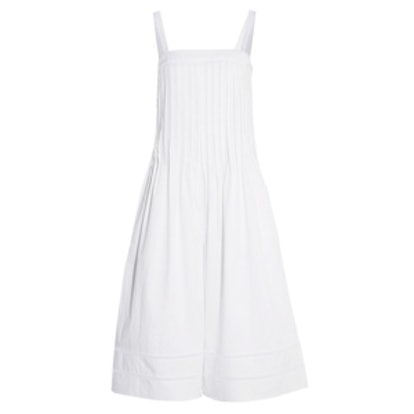 Pintucked Cotton Wide-Leg Jumpsuit