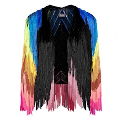 Fringed Metallic Knitted Jacket