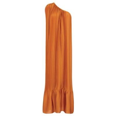 Rust Satin One Shoulder Dress