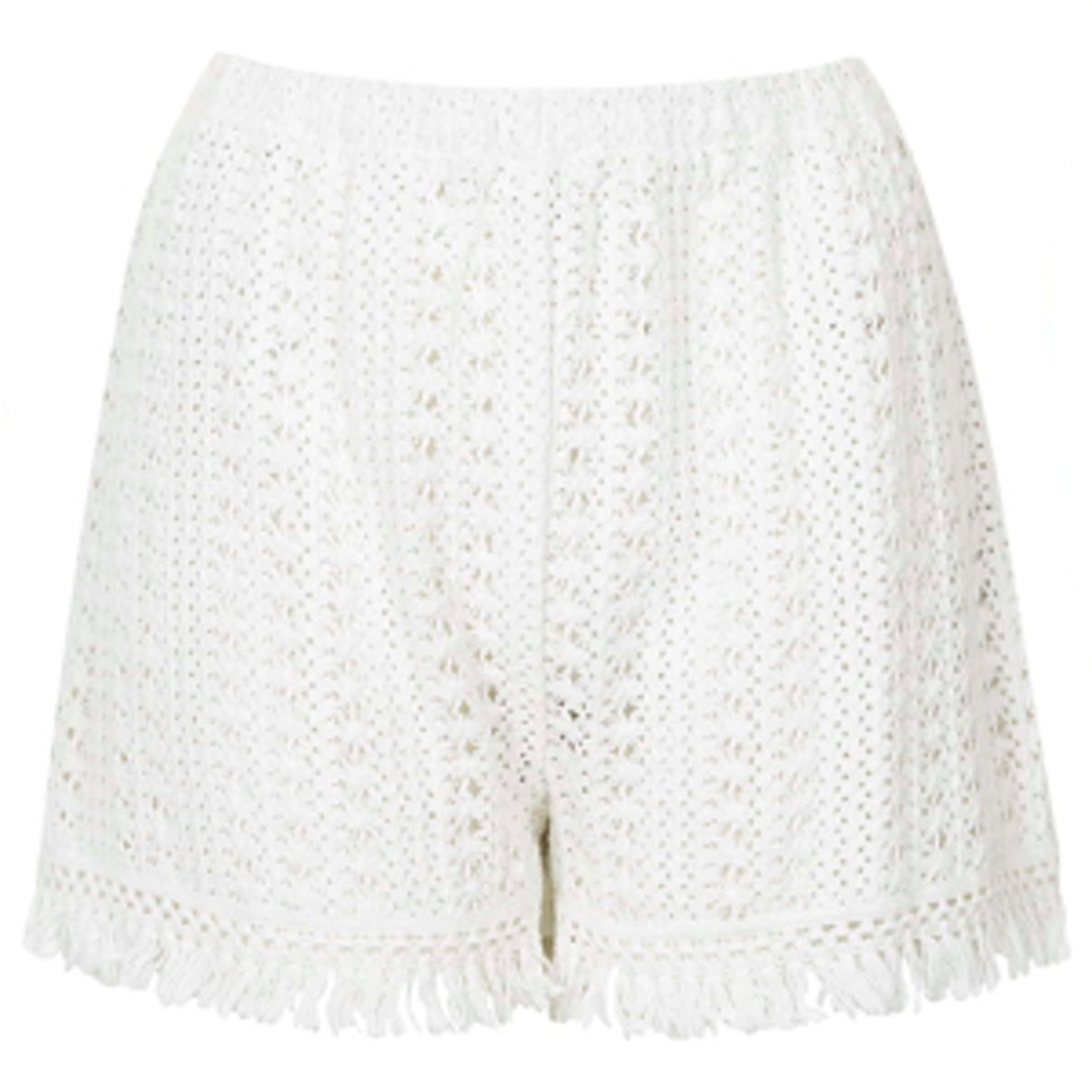 Fringe Trim Crochet Shorts