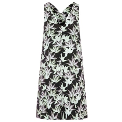 Palm Print Cross-Back Dress