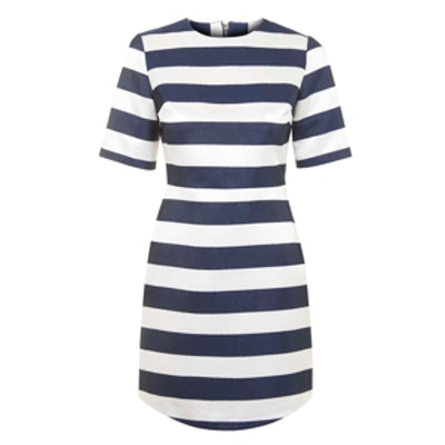 Satin Stripe A-Line Dress