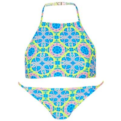 Tile Print High-Neck Bikini Set