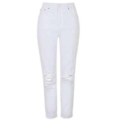 Moto White Ripped Mom Jeans
