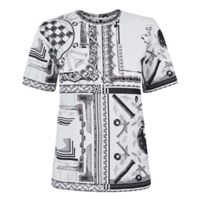 White and Black Print Anthony Vaccarello T-shirt