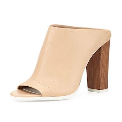 Allison Leather Peep-Toe Mule