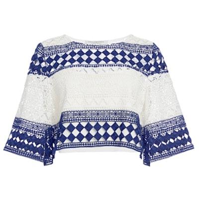 Striped Cotton Macrame Cropped Top