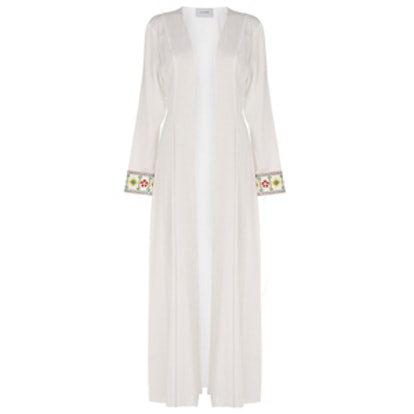 Maxi Cardigan with Embroidered Cuffs
