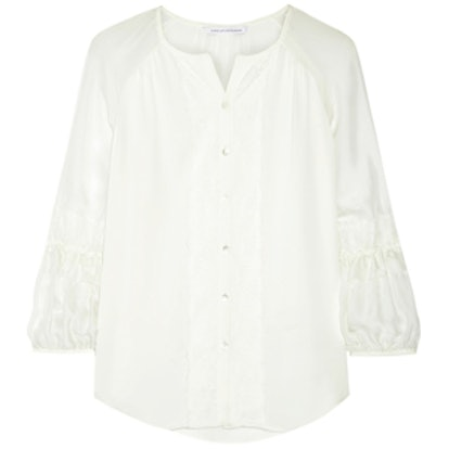 Taylor Lace-Trimmed Silk-Crepe Blouse