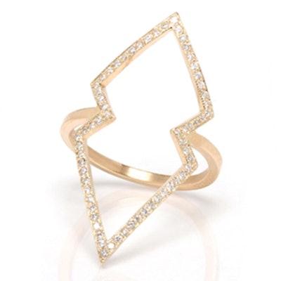 14k Pave Open Arrowhead Ring