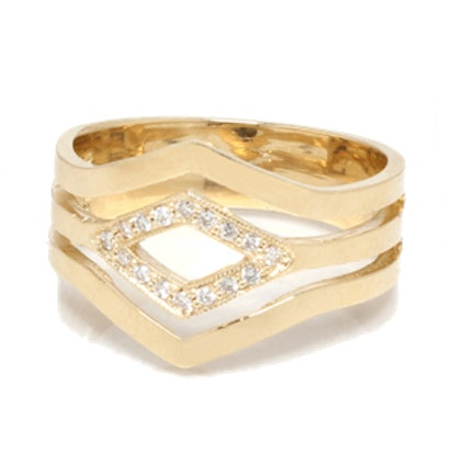14k 3 Band Pave Pointed Ring