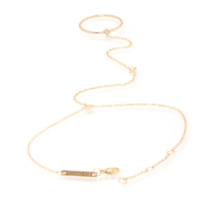 14k 3 Tiny Diamond Ring Hand Chain