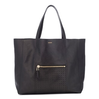 Leather Tote Bag With Gold Accents