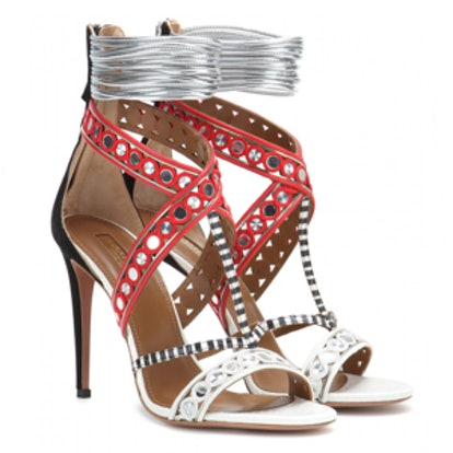 The Queen Embellished Snakeskin Sandals